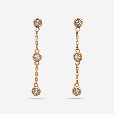 14KT Three Bezel Set Diamond Earrings