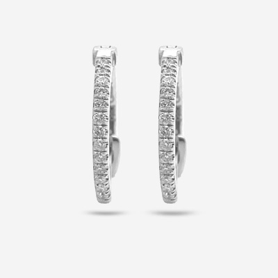 14KT Small Diamond Hinge Hoop Earrings