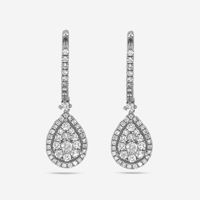 14KT Pear Shape Drop Diamond Cluster Earrings