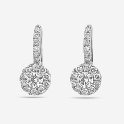 14KT Diamond Cluster Halo Style Euro Drop Earrings