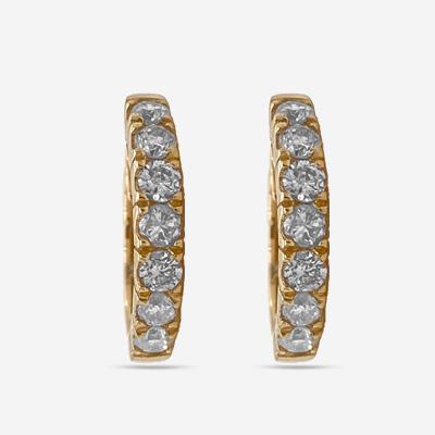 14KT Diamond Hoop Earring