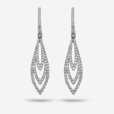 14KT Three Layer Diamond Teardrop Dangle Earrings