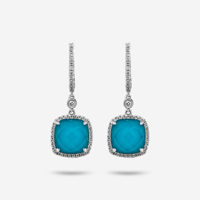 18KT Turquoise Quartz and Diamond Drop Earrings