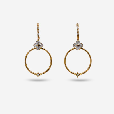 14KT Diamond Clover and Open Circle Drop Earrings