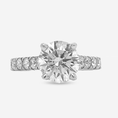 14KT Round Center Diamond Engagement Ring