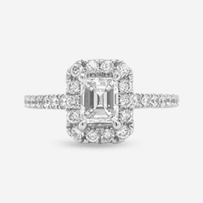 14KT Emerald Cut Center Halo Engagement Ring