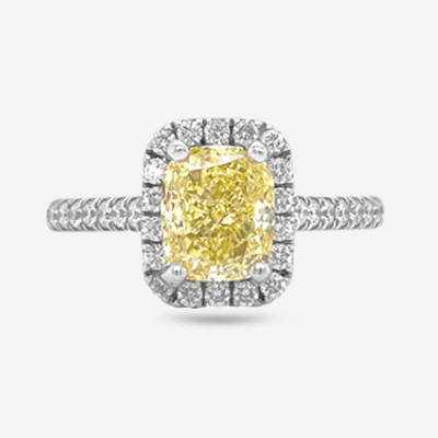 18KT Two Tone Cushion Diamond Engagement Ring