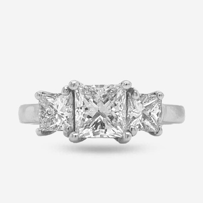 14KT Three-Stone Princess Cut Diamond Engagement Ring