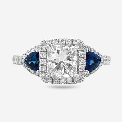 14KT Radiant Sapphire and Diamond Engagement Ring