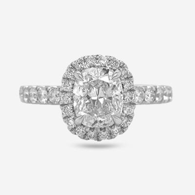 Platinum Cushion Center Diamond Engagement Ring