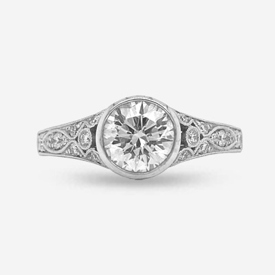 14KT Bezel Center Diamond Engagement Ring