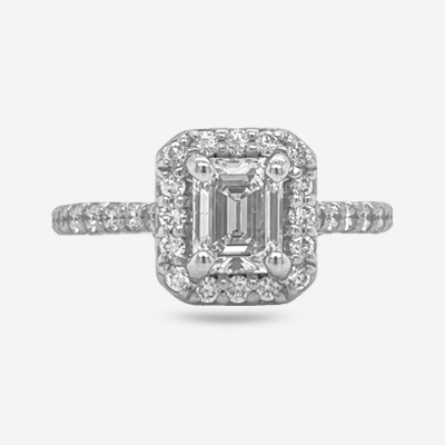 14KT Emerald Cut Halo Diamond Engagement Ring