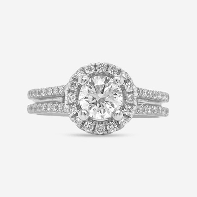 14KT Double Row Mounting Engagement Ring