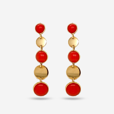 14KT Bezel Style Coral Drop Earrings