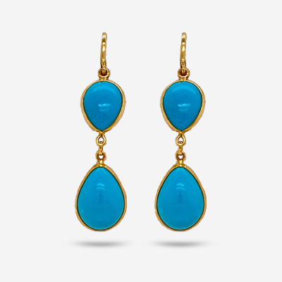 18KT Double Turquoise Drop Earrings