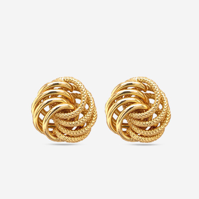 14KT Texture Fancy Swirl Stud Earrings