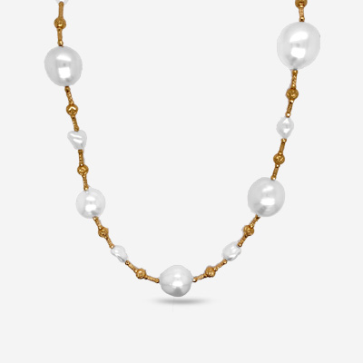 18KT Faceted Beaded and Fresh Water South Sea 32″ Necklace