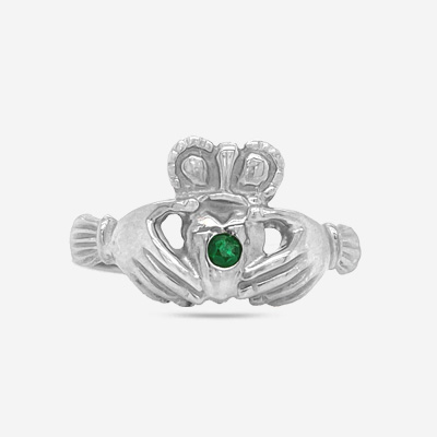 14KT Emerald Claddagh Ring