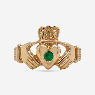 14KT Gentleman's Emerald Claddagh Ring