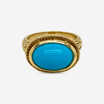 18KT Oval Turquoise Engraved Band Ring
