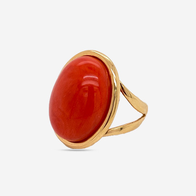 18KT Coral Polish Ring